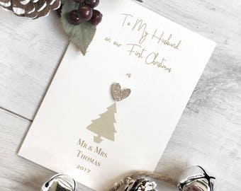 Personalised First Christmas Card, First Christmas Card, Husband's First Christmas, Card To Husband At Christmas, Husband Card, Christmas