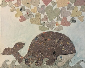 Nursery Wall Hanging II Paper collage on canvas frame [whale with hearts]