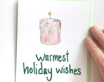 watercolor christmas card, holiday notecard, red candle greeting card, warm wishes card, christmas pun note, funny holiday card for her