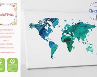 Aquamarine World Map Canvas Print Watercolor / FREE SHIPPING / world map canvas watercolor world map world map wall art canvas art map print