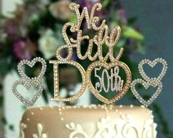 Gold Anniversary Party decoration Cake topper 50th vow renewal Mr and Mrs Rhinestone cake pick gold hearts center piece