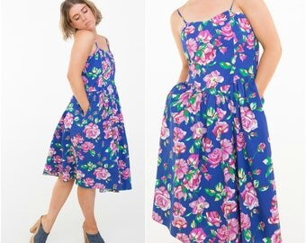 Summer Garden! 80s does 50s style Dress / Blue Floral / Size M