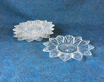 Vintage Federal Glass Petal Bread and Butter Plates, Set of 4