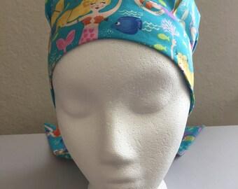 Child Cancer Hat - Chemo Hat - Hair Loss - Child Cotton Chemo Hat - Child Chemo Comfort - Mermaids