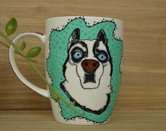 Husky or Huskies Dog Coffee Mug  Handmade Personalized Porcelain Useful Gift for Anybody Who Likes This Husky Breed