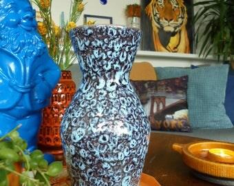 West Germany Scheurich fat lava vase 523-18 blue gray hourglass shaped midcentury modern industrial Scandinavian