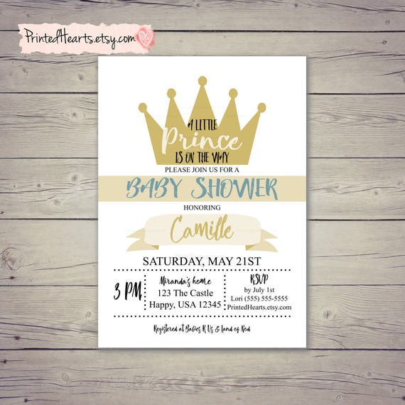 Prince invitation a little prince is on the way baby boy prince invitation a little prince is on the way baby boy invitation baby shower invitation crown invitation blue cream beige gold filmwisefo