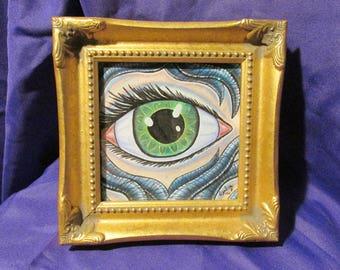 Green Eye Original Framed Drawing