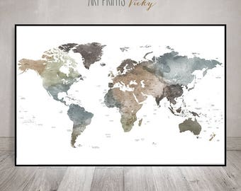 large world map poster with countries names  | ArtPrintsVicky.com