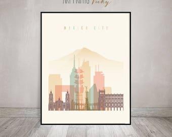 Mexico city print, Poster, Wall art, Mexico skyline, fine art print, Home gift, Typography art, travel poster, Home Decor, ArtPrintsVicky