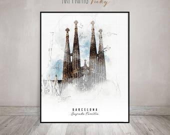 Barcelona Sagrada Familia poster contemporary art print   ArtPrintsVicky.com