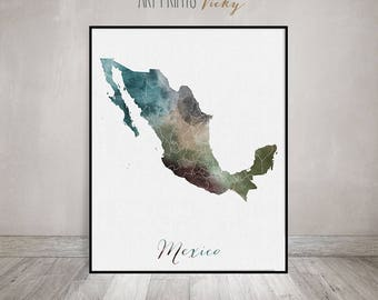 Mexico watercolor map, art print, travel map, Mexico poster, Mexico map, North America, wall art, painting, Gift, home decor, ArtPrintsVicky