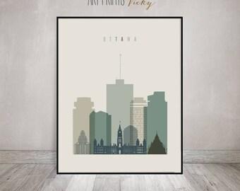 Ottawa wall art print, Ottawa skyline poster, Ontario Canada cityscape, Travel poster, Typography art, Home Decor, Gift, ArtPrintsVicky