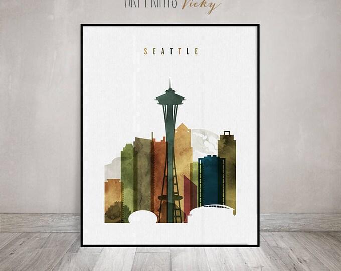 Seattle art print, Seattle skyline wall art, Seattle watercolor poster, travel decor, housewarming gift, wall decor, ArtPrintsVicky