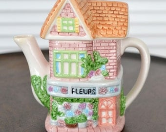 Teapot in the Shape of a House, Ceramic House Teapot