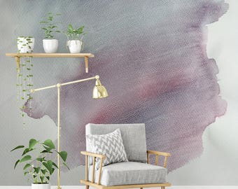 Soft Pink and Blue Watercolour Wall Decal, Cut-Out Transparent Background, Removable Sticker, Hand Painted Interior Design