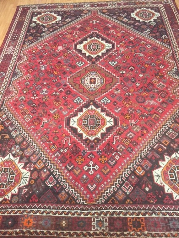 "7'3"" x 9'10"" Persian Shiraz Oriental Rug - 1970s - Hand Made - 100% Wool"