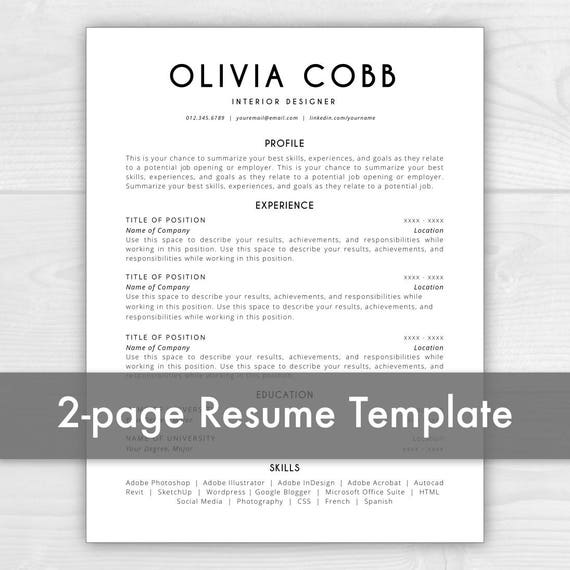 One Page Resume Template Free Download: 2 Page Resume Template Instant Download CV Template Resume