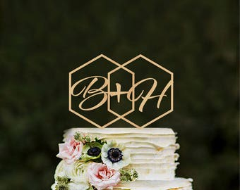 Geometric wedding cake topper Initials Hexagon modern cake toppers Monogram Rustic toppers Unique cake topper Custom cake topper gold topper