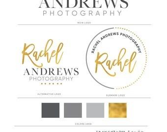Gold Logo, Logo, Premade Logo, Logo Design, Watermark, Photography Logo, Watermark Logo, Modern Logo, Branding Kit, Branding Package