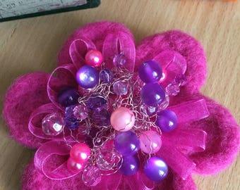 Felted Brooch, Bright Pink Flower Brooch, Handmade Felt Brooch, Winter Accessory, Gift For Her, Girl Women Accessory, Wool Jewelry
