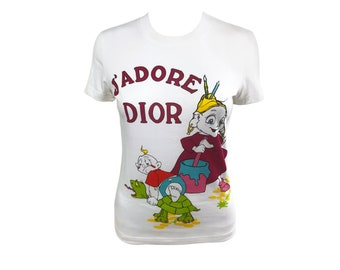CHRISTIAN DIOR Vintage J'adore Dior Cartoon Logo Print T-Shirt Top sz FR 38 Tee