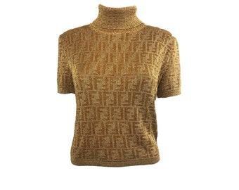 FENDI Vintage Zucca Monogram FF Logo Print Brown Knit Sweater Shirt Jumper 1990s Design