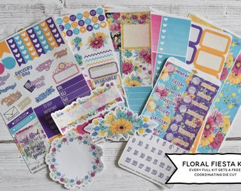 Floral Fiesta Weekly Vertical Planner Stickers Kit 28L