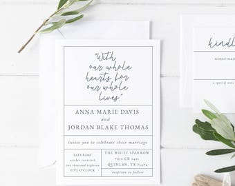 Minimalist Wedding Invitation || Modern Wedding Invitation || Printable Wedding Invitation || Wedding Invitation Template