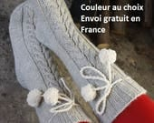 Socks wool and alpaca women men knitted hand, with/without PomPoms socks with cables, slippers, slippers, winter