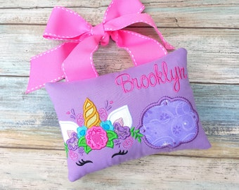 Unicorn tooth fairy pillow.Personalized uniocrn tooth fairy pillow.