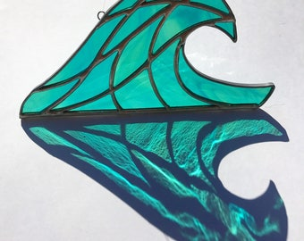 "Handmade Crashing Wave Stained Glass (8""x4"")"