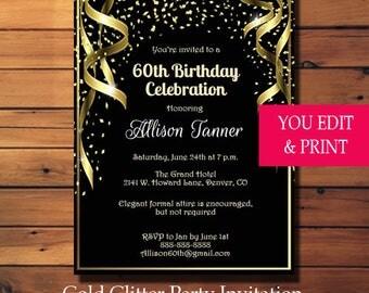60th Birthday Invitation, 60th Birthday Party Invitation, 60th Invitation, Gold Glitter 60th Birthday Invitation, You Edit PDF