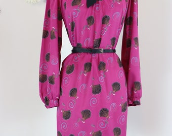 1960s Dress - Pussy Bow Dress - Patterned Long Sleeve Midi Dress - Magenta Graphic Print Dress - Vintage - Size Medium