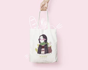 Severus Snape Tote Bag - Wizard Inspired Illustrated Tote Bag - Slytherin Tote Bag - Snape Gifts - Slytherin - After All this Time, Always