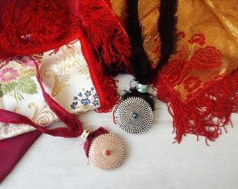 Sardinian sea ceramic brocade necklace, sea urchin pendant