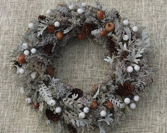 Gray moss wreath Winter feeling Seasonal wreath decor with cones Christmas wreath Doors decor Thanksgiving wreath Rustic style Holiday decor