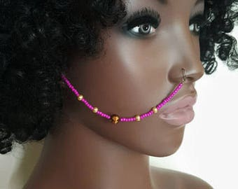 Fuchsia Beaded Nose Chain - Nose Chain - Boho Body Jewelry - Face Jewelry - Ear to Nose Chain - Tribal Jewelry - Statement Jewelry