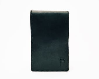 Personalized Handmade Leather Golf Scorecard Holder / Yardage book Horween Dublin Black
