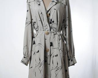 Vintage gray silk dress in splashed ink print with belt