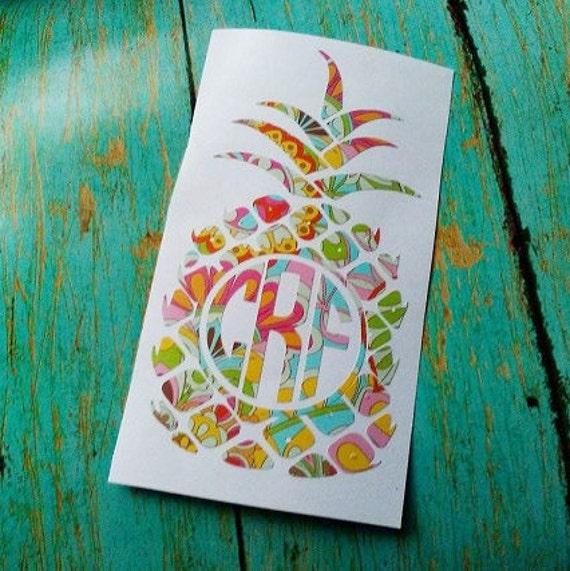 Shop Floral Monograms At Littlebrownnest Etsy Com: Floral Pineapple Monogram Decal Flower Print Decal Boho