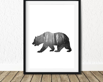 Woodland Bear Poster, Printable Forest Art, Nature Lover Gift, Mama Bear, Affiche Scandinave, Woodland Creatures, Printable Bear Art