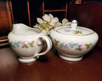 Vintage Fine China Creamer and Covered Sugar Bowl Pattern 6701 Blue and Green with Platinum Edge