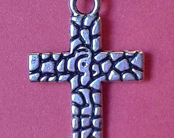 """Textured Cross Pendant with Plated Sterling Silver Snake Chain (16"""", 18"""", 20"""", 22"""", 24"""") or 18"""" Leather Cord"""