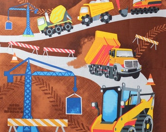 This is a fabric panel designed by Timeless Treasures for boys.  It consists of various construction equipment.