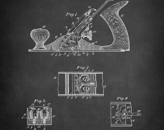 Wooden Plane Patent Art Print - Plane Patent Print - Workshop Plane Patent Print - Hand Tool Patent Print - Woodworking Tools Patent Print