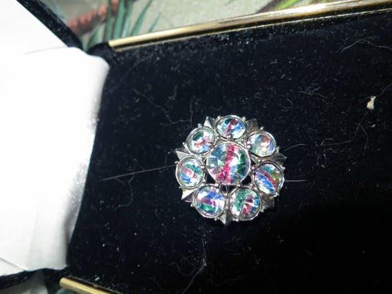 Lovely vintage silver metal rainbow rhinestone (iris glass)  brooch