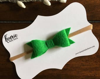 Felt Bow Baby Headband, Green, Nylon Headband