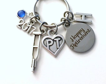 Retirement Gift for PT Keychain, 2017 Physical Therapist Key Chain, Therapy Keyring, Crutches Crutch for her men letter initial him women