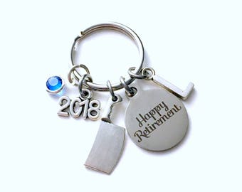 Retirement Gift for Chef KeyChain, Culinary Institute Key Chain Co-worker cleaver knife 2018 present him her men women instructor retire mom